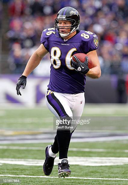 Tight end Todd Heap of the Baltimore Ravens runs with the ball against the Cincinnati Bengals at MT Bank Stadium on January 2 2011 in Baltimore...
