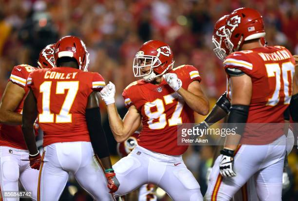 Tight end Travis Kelce of the Kansas City Chiefs celebrates after catching a pass for a touchdown during the game against the Washington Redskins at...