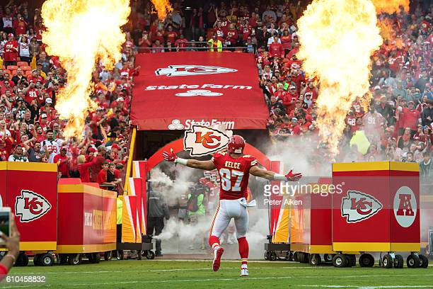 Tight end Travis Kelce of the Kansas City Chiefs is introduced to the fans before the game against the New York Jets at Arrowhead Stadium on...