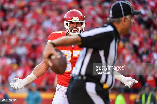 Tight end Travis Kelce of the Kansas City Chiefs looks to the official for a pass interference penalty after a catch attempt against the Jacksonville...