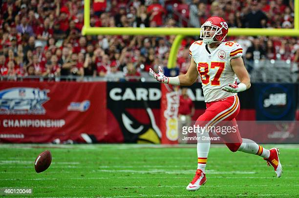 Tight end Travis Kelce of the Kansas City Chiefs misses a pass in the first half of the NFL game against the Arizona Cardinals at University of...