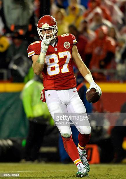 Tight end Travis Kelce of the Kansas City Chiefs reacts after catching a pass during the game against the Denver Broncos at Arrowhead Stadium on...