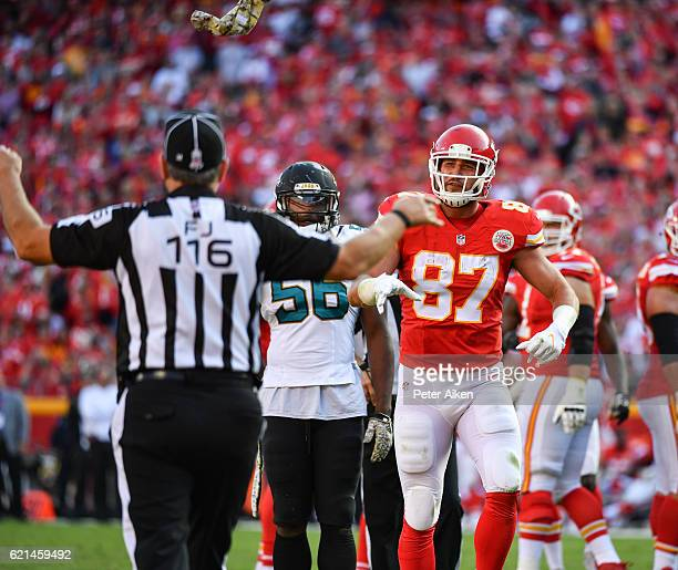 Tight end Travis Kelce of the Kansas City Chiefs throws a towel towards the field judge after a non call for pass interference against the...