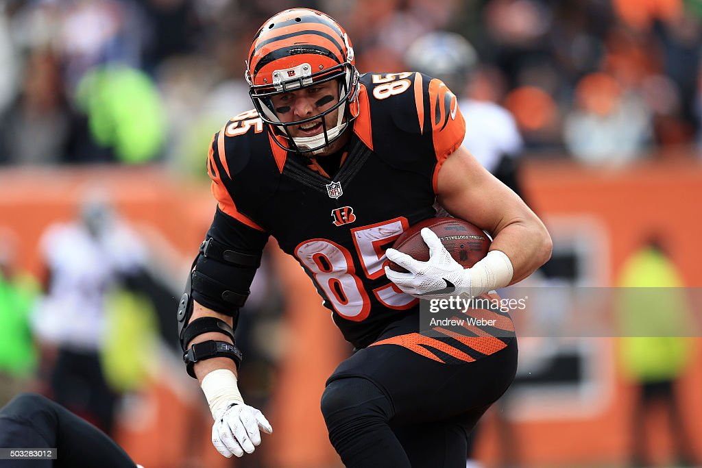 Tight end <a gi-track='captionPersonalityLinkClicked' href=/galleries/search?phrase=Tyler+Eifert&family=editorial&specificpeople=6258359 ng-click='$event.stopPropagation()'>Tyler Eifert</a> #85 of the Cincinnati Bengals catches a pass for a touchdown during the second quarter against the Baltimore Ravens at Paul Brown Stadium on January 3, 2016 in Cincinnati, Ohio.