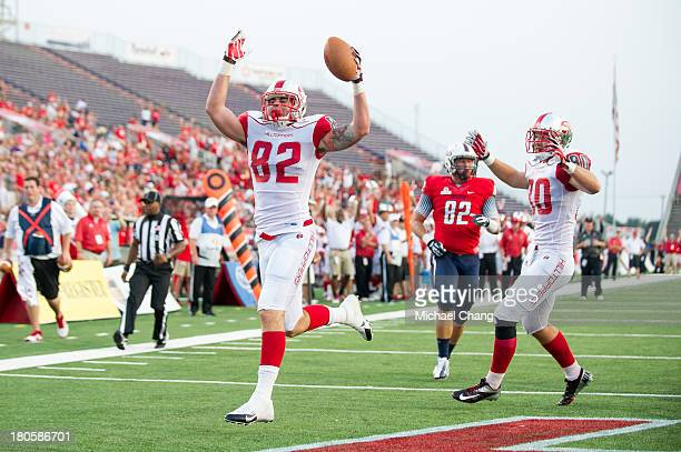 Tight end Tyler Higbee of the Western Kentucky Hilltoppers celebrates after scoring a touchdown during their game against the South Alabama Jaguars...