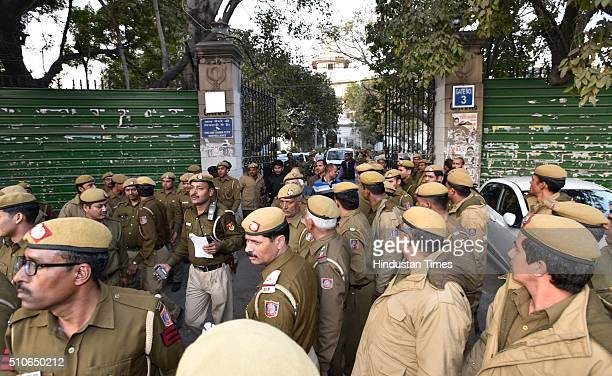 Tight security in front of Patiala Court as SAR Geelani former Delhi University lecturer produced at Court as he was arrested by Delhi Police...