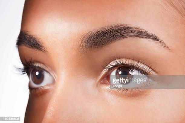 Tight shot of hispanic woman's brown eyes