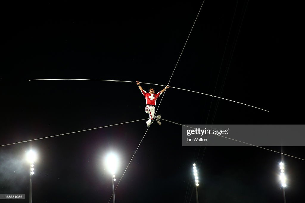 A tightrope artist performs at the opening ceremony during day one of the 22nd European Athletics Championships at Stadium Letzigrund on August 12, 2014 in Zurich, Switzerland.