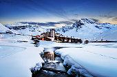Llandscape and ski resort in French Alps,Tignes, Le Clavet, Tarentaise, France