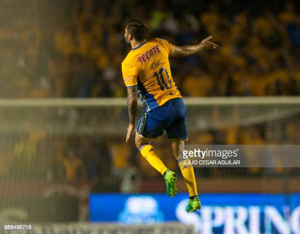 Tigres' Andre Pierre Gignac celebrates after scoring against Guadalajara during the first leg of final of Mexican Clausura 2017 tournament football...