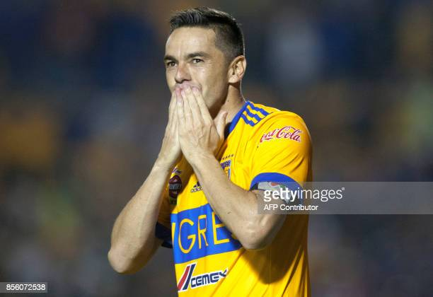 Tigres' Anselmo Vendrechovski celebrates after scoring against Chivas during their Mexican Apertura football tournament match at the Universitario...