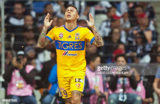 Tigres Chilean player Eduardo Vargas celebrates after scoring against Monterrey during their final Mexican Apertura 2017 tournament football match at...