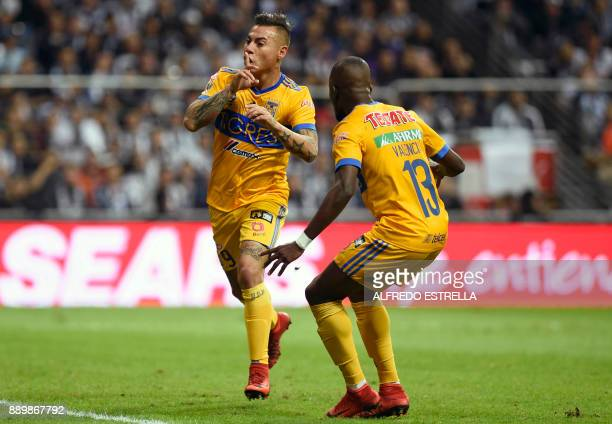 Tigres Chilean player Eduardo Vargas celebrates with teammate Enner Valencia after scoring against Monterrey during their final Mexican Apertura 2017...