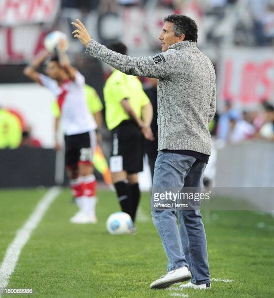 Tigre's coach Diego Cagna during a match between River Plate and Tigre as part of the 6th round of the Torneo Inicial 2013 at Monumental Stadium on...
