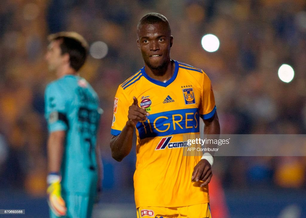 Tigres' Enner Valencia celebrates after scoring against Necaxa during the 2017 Mexican Apertura tournament football match, at Universitario stadium in Monterrey, Mexico on November 5, 2017. /