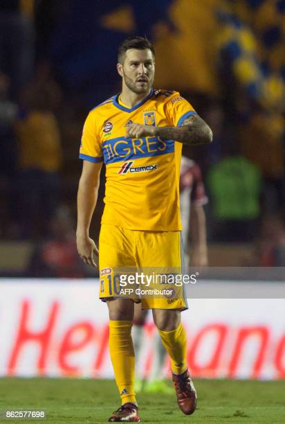 Tigres forward Andre Pierre Gignac celebrates after scoring against Veracruz during their Mexican Apertura 2017 tournament football match at the...