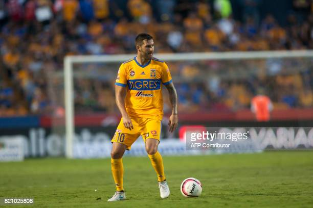 Tigres' French footballer AndrePierre Gignac plays during the Mexican Apertura football tournament match against Puebla at the Universitario stadium...