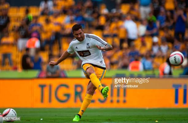 Tigres' French footballer AndrePierre Gignac warms up before the start of a Mexican Apertura 2017 tournament football match against Queretaro at the...