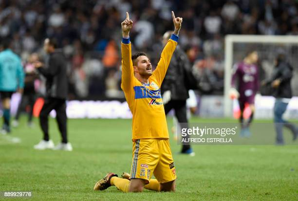 Tigres French player Andre Pierre Gignac celebrates his victory after winning the Mexican Apertura 2017 football tournament final match against...