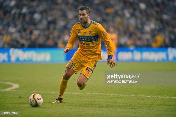 Tigres' French player Andre Pierre Gignac controls the ball during their final Mexican Apertura 2017 tournament football match against Monterrey at...