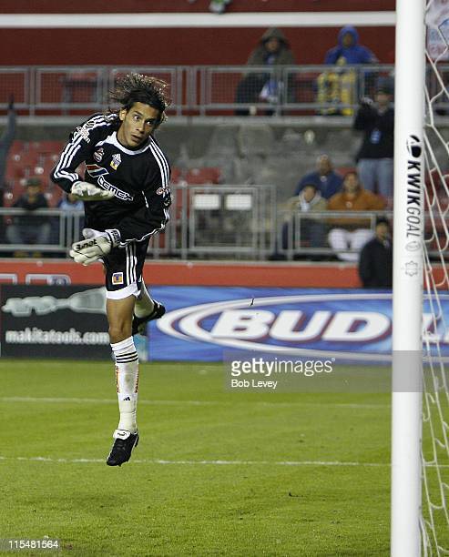 Tigres goalkeeper Cirilio Saucedo watches the ball sail wide during first half InterLiga 2007 action between Tigres and Monterrey on January 3 2007...