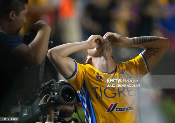 Tigres' Jesus Dueñas celebrates after scoring against Monterrey during the first leg of quarterfinal of Mexican Clausura 2017 tournament football...