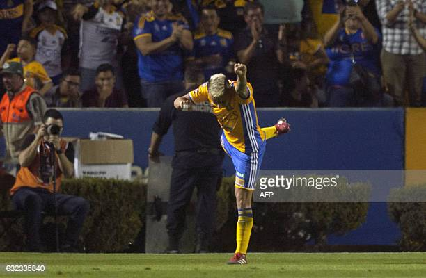 Tigres' Lucas Zelarayan celebrates after scoring against America during a Mexican Clausura 2017 tournament football match at the Universitario...