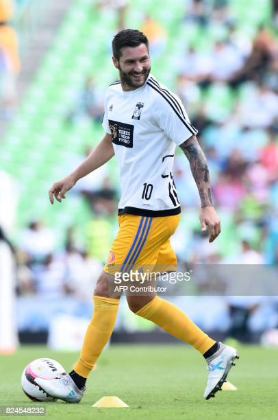 Tigres' player Andre Gignac warms up before the start of their Mexican Apertura 2017 Tournament football match against Santos at the TSM Corona...