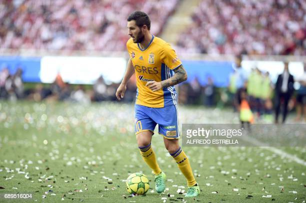 Tigres player AndrePierre Gignac controls the ball during the final match against Guadalajara in the Mexican Clausura 2017 football tournament at the...