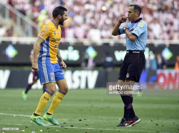 Tigres player AndrePierre Gignac reacts against referee Enrique Santander during their final match against Guadalajara in the Mexican Clausura 2017...