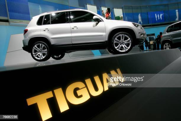 A 'Tiguan' model of German car maker Volkswagen is displayed during the press day of the IAA September 12 2007 in Frankfurt Germany On September 13...