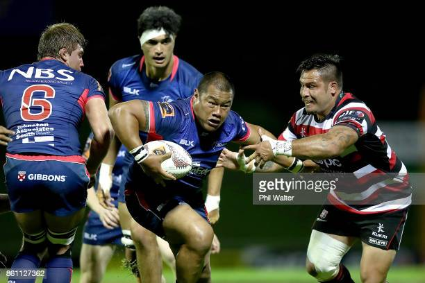 Ti'i Paulo of Tasman pushes forward during the round nine Mitre 10 Cup match between Counties Manukau and Tasman at ECOLight Stadium on October 14...