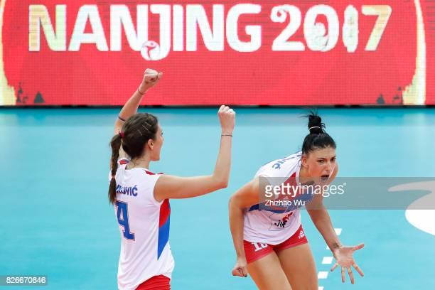 Tijana Boskovic of Serbia celebrates during 2017 Nanjing FIVB World Grand Prix Finals between Brazil and Serbia on August 5 2017 in Nanjing China