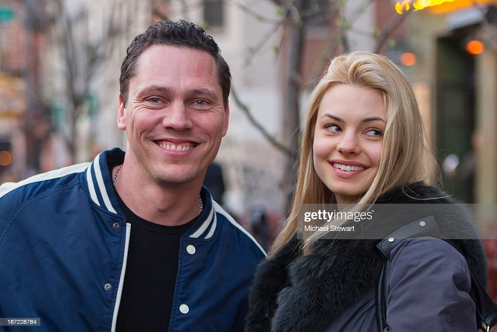 Tijs Michiel Verwest aka DJ Tiesto (L) and friend seen on the streets of Manhattan on April 22, 2013 in New York City.