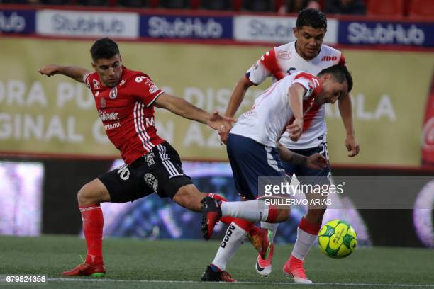 Tijuana's midfielder Victor Malcorra vies for the ball with Veracruz's forward Adrian Luna during their Mexican Clausura 2017 Tournament football...