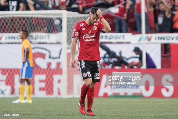 Tijuana's player Guido Rodriguez reacts after being ejected during the second leg of their Mexican Clausura 2017 Tournament football semifinal match...