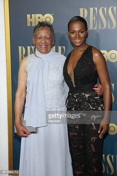 Tika Sumpter and Beverly Ann Clarke granddaughter of Bessie Smith attend the 'Bessie' New York screening at The Museum of Modern Art on April 29 2015...