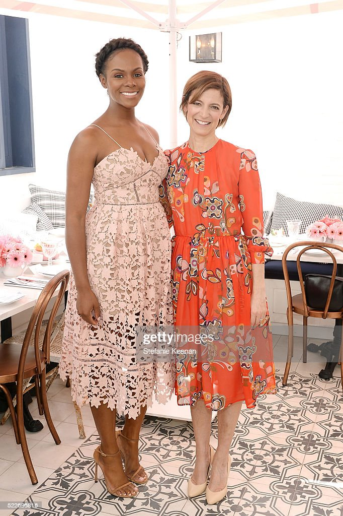 Tika Sumpter and Cindi Leive attend Glamour's Game Changers Lunch hosted by EditorinChief Cindi Leive Zendaya at AU FUDGE on April 20 2016 in West...