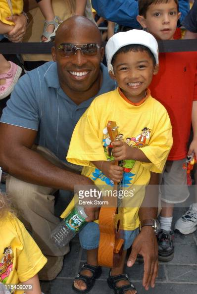 Tiki Barber and his son AJ during Dermot Mulroney Tiki Barber and The Wiggles Visit the 'Today' Show July 27 2005 at The 'Today' Show Studios in New...