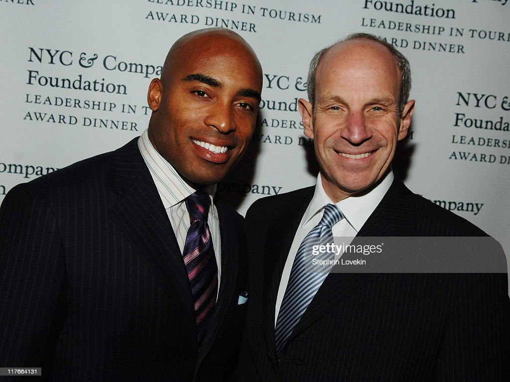 Tiki Barber and Jonathan Tisch during NYC Company Foundation Hosts Leadership in Tourism Award Dinner at Gotham Hall in New York City New York United...