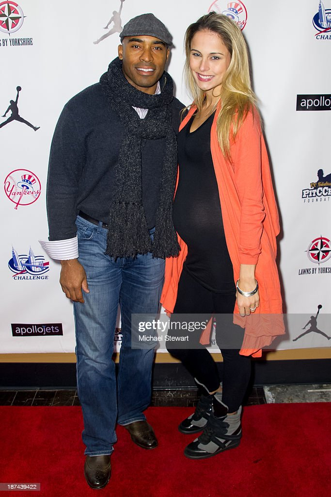 Tiki Barber (L) and Traci Lynn Johnson attend the PitCCh In Foundation 2013 Challenge Rules Party at Luxe at Lucky Strike Lanes on November 8, 2013 in New York City.