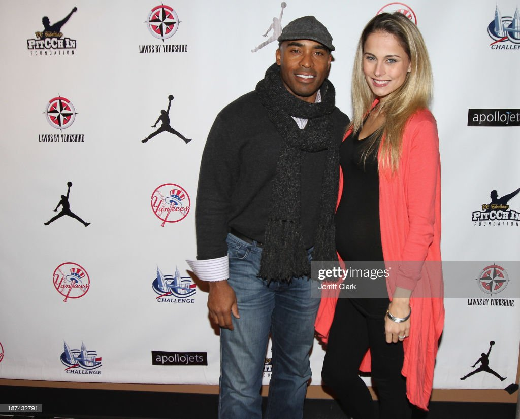 Tiki Barber and wife Traci Lynn Johnson attend the PitCCh In Foundation 2013 Challenge Rules Party at Luxe at Lucky Strike Lanes on November 8, 2013 in New York City.