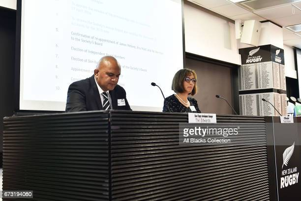 Tiki Edwards and NZMRB Chair Farah Palmer speak during the New Zealand Maori Rugby Board AGM at New Zealand Rugby House on April 26 2017 in...