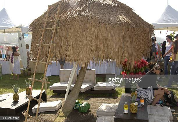 Tiki hut and West Elm Decor during Cabana PreMTV Movie Awards Beauty Buffet Day One at Private Residence in Hollywood California United States