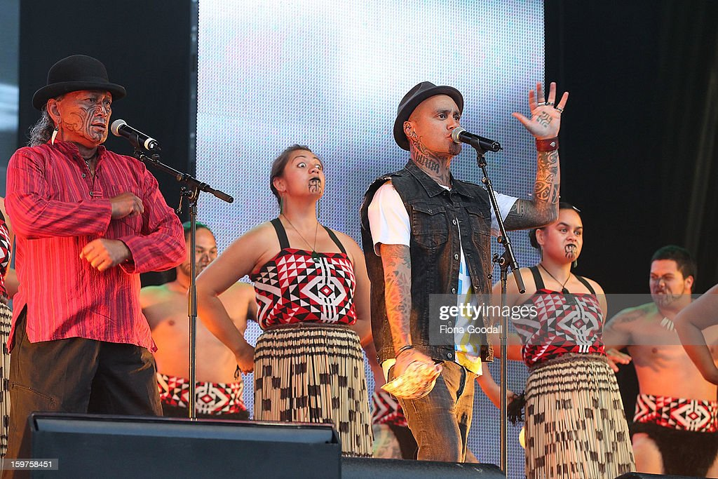 Tiki Tane performs with a cultural group as Kim Dotcom launches his new file-sharing site, Mega, on January 20, 2013 in Auckland, New Zealand. The launch comes as Dotcom continues to face extradition to the United States on copyright and racketeering charges in relation to his file sharing site, Megaupload.
