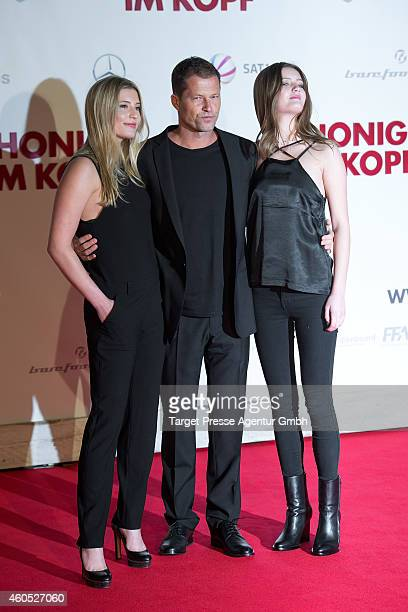 Til Schweiger and his daughters Luna and Lilli attend the 'Honig im Kopf' Premiere at CineStar on December 15 2014 in Berlin Germany