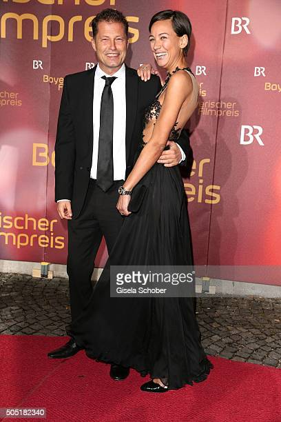 Til Schweiger and his girlfriend Marlene Shirley during the Bavarian Film Award 2016 at Prinzregententheater on January 15 2016 in Munich Germany