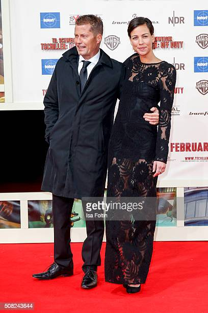 Til Schweiger and Marlene Shirley attend the 'Off Duty' German Premiere on February 03 2016 in Berlin Germany