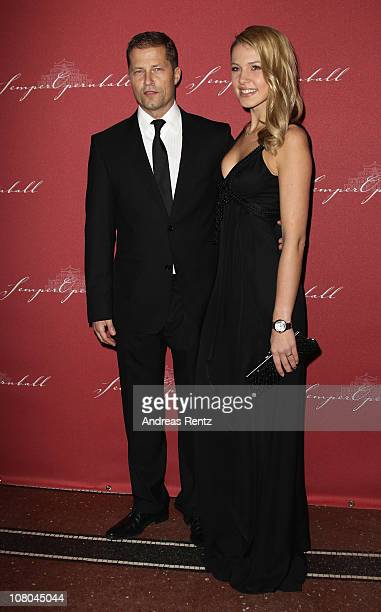 Til Schweiger and Svenja Holtmann arrive at the Semper Opera ball on January 14 2011 in Dresden Germany