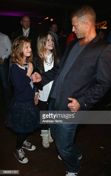 Til Schweiger dances with his daughter Emma and Paula at the after show party to 'Kokowaeaeh 2' Germany Premiere at Astra on January 29 2013 in...